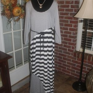 Motherhood black white striped maxi dress XL